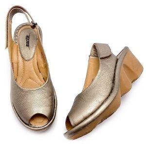 Earth Bronze Peep Toe Slingback Wedge Sandals